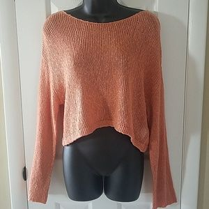 NWT FOREVER 21 Cropped Oversized Open Knit Sweate